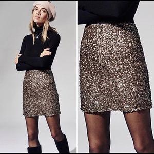NWOT Free People sequin front zip mini skirt